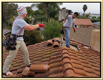 broken roofing tiles